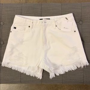 NWT KanCan Distressed White Shorts High Waist